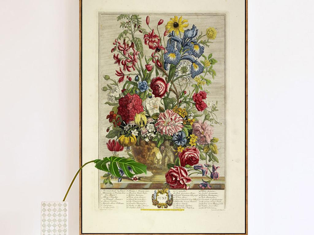 欧式复古典怀旧玄关花卉郁金香装饰画