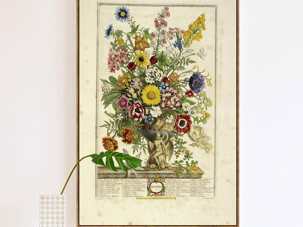 复古欧式古典玄关插画花卉装饰画