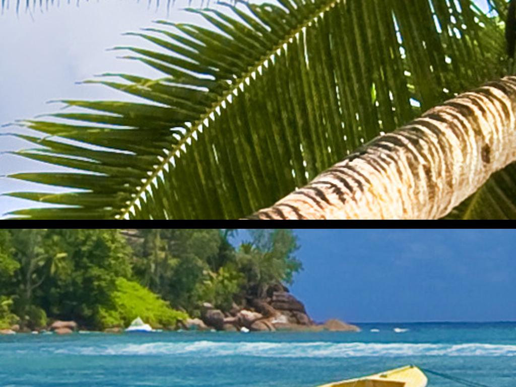 高清大海椰子树沙发背景墙