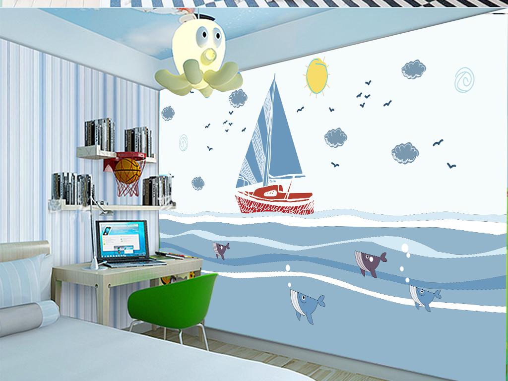 手绘帆船鱼儿卡通儿童房背景墙