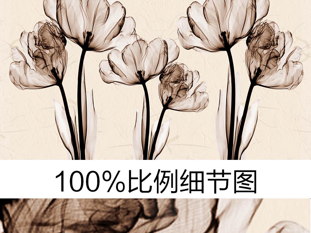 手绘文艺简约素雅花卉时尚背景墙(图片编号:15896689)