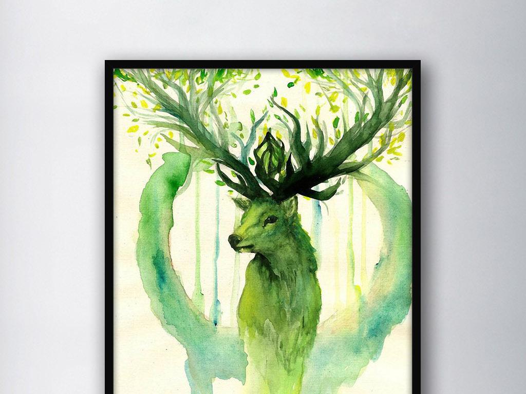 绿色希望麋鹿北欧神话欧式现代家居装饰画