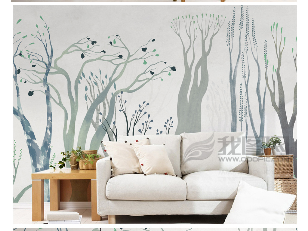 手绘现代简约北欧树林背景墙装饰