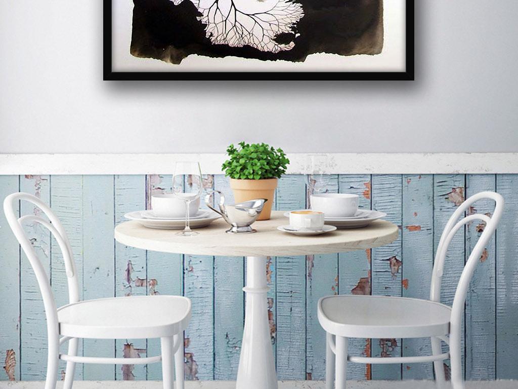 抽象树湖泊北欧现代欧式手绘家居室内装饰画