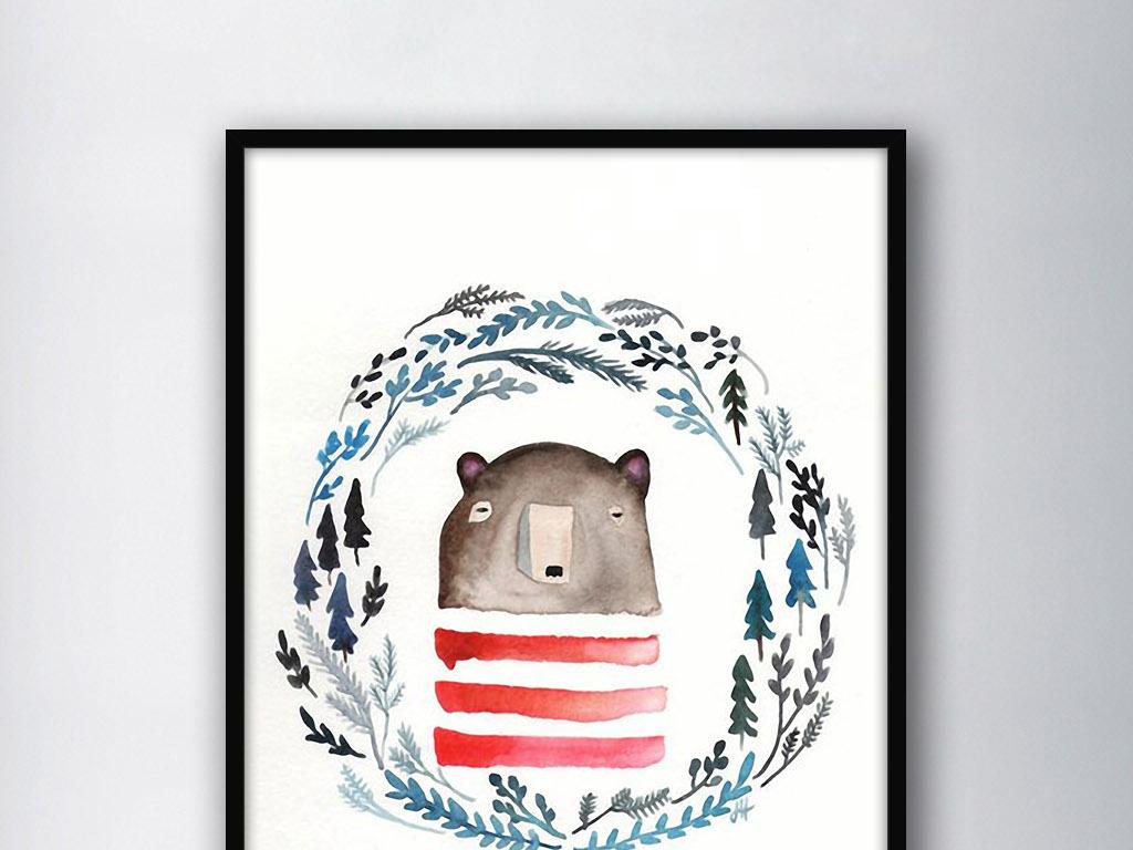 熊针叶森林北欧小清新手绘水彩家居装饰画