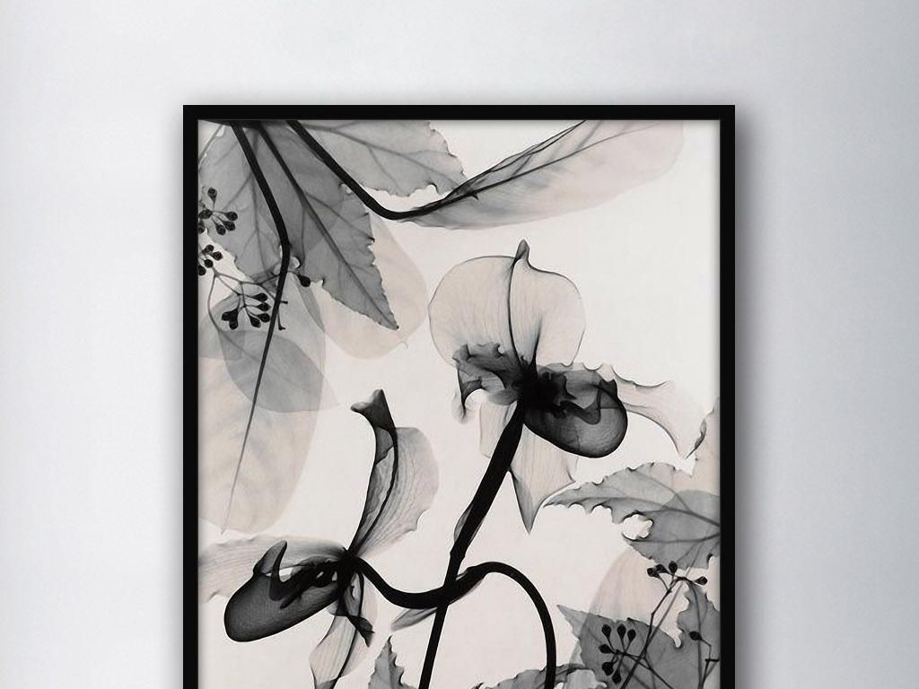 黑白透明蒲公英树叶北欧现代欧式家居装饰画图片