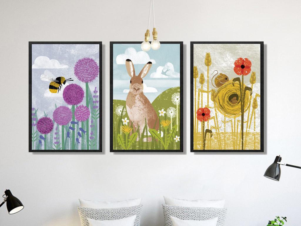 动物三联装饰画