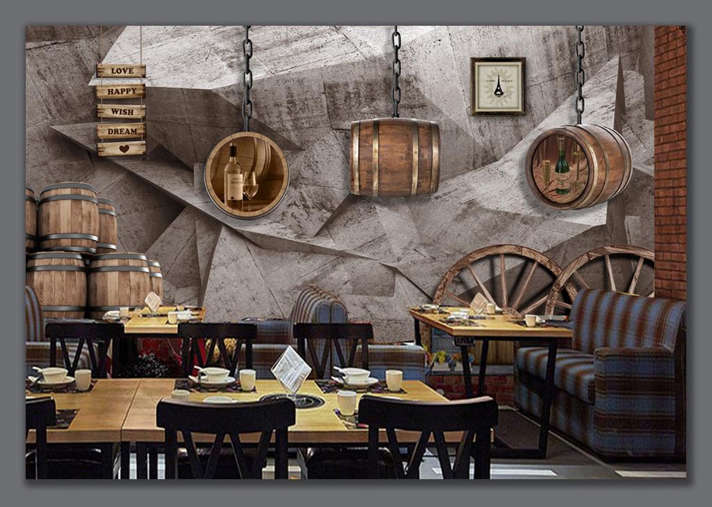 设计作品简介: 复古3d岩石酒桶车轮背景墙