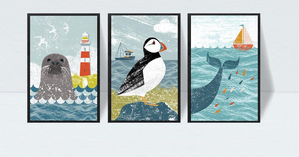 欧式创意手绘地中海海景动物三联无框画