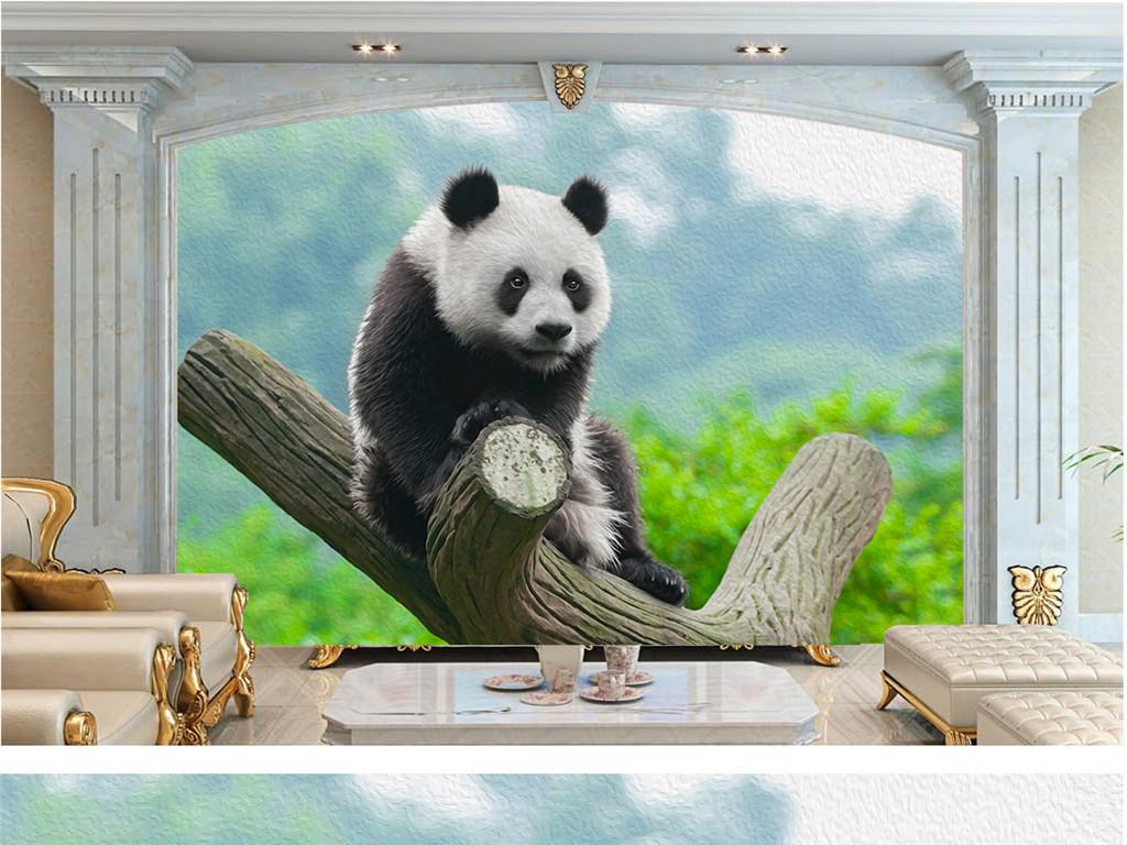高清风景油画熊猫戏装饰画