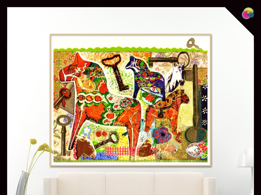 手绘油画麋鹿树林抽象欧式简约无框画装饰画