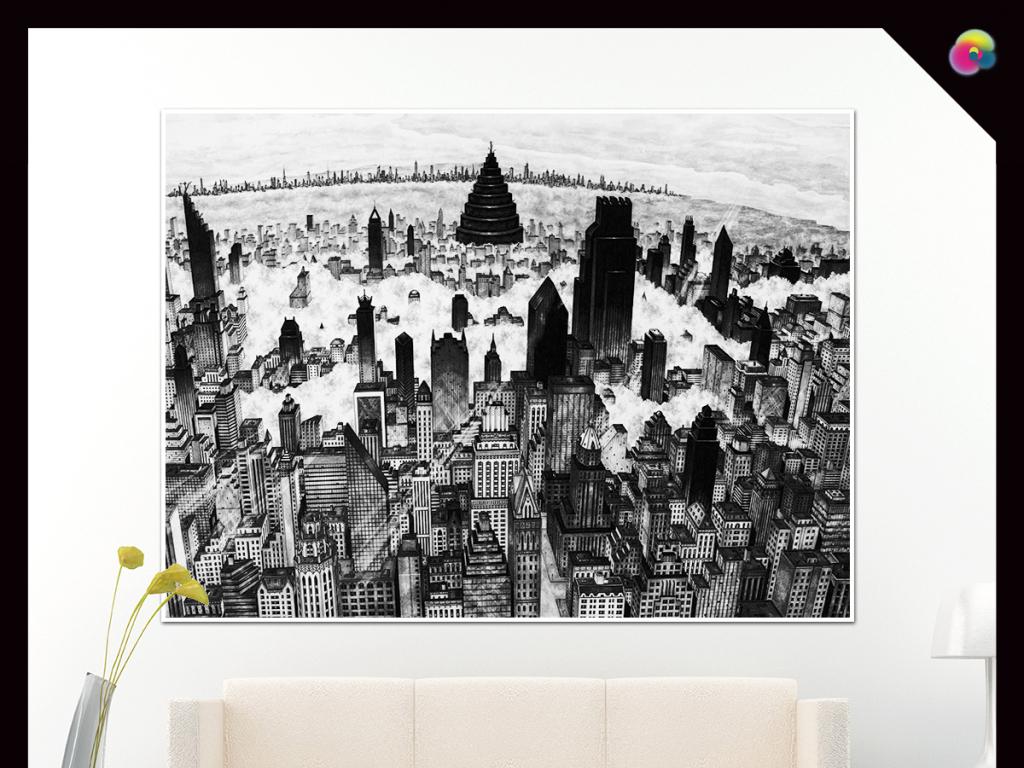 现代简约手绘时尚纽约高楼素描欧美街头