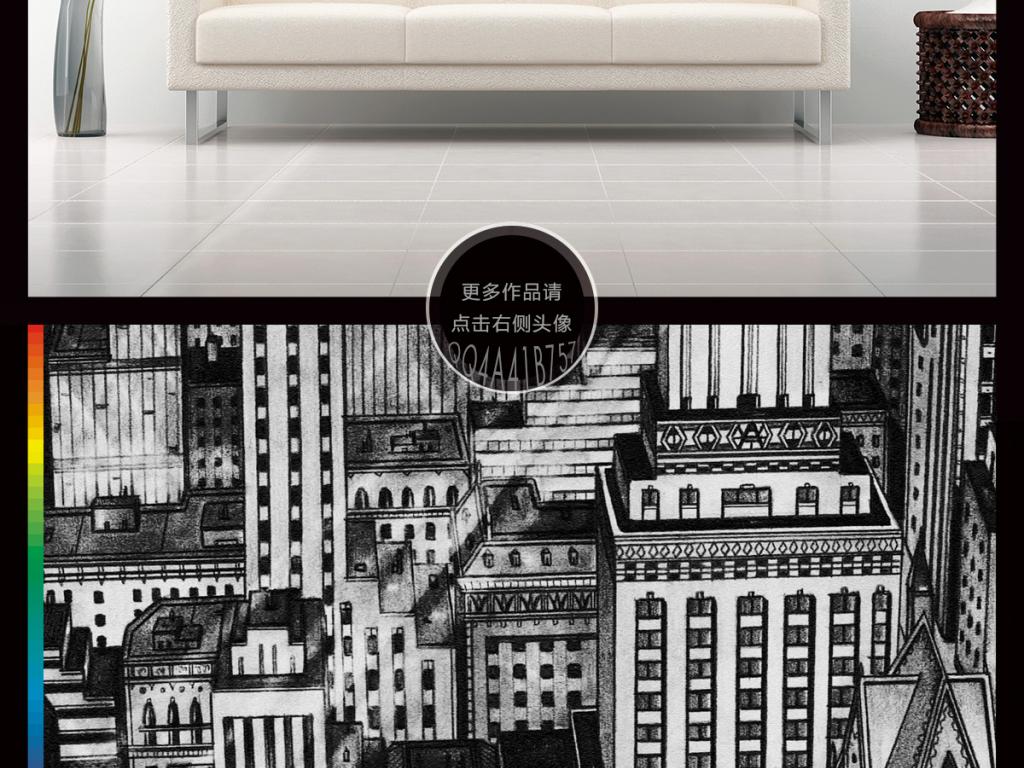 街道手绘海报版画城市建筑插画现代简约简约现代简约手绘现代简约时尚