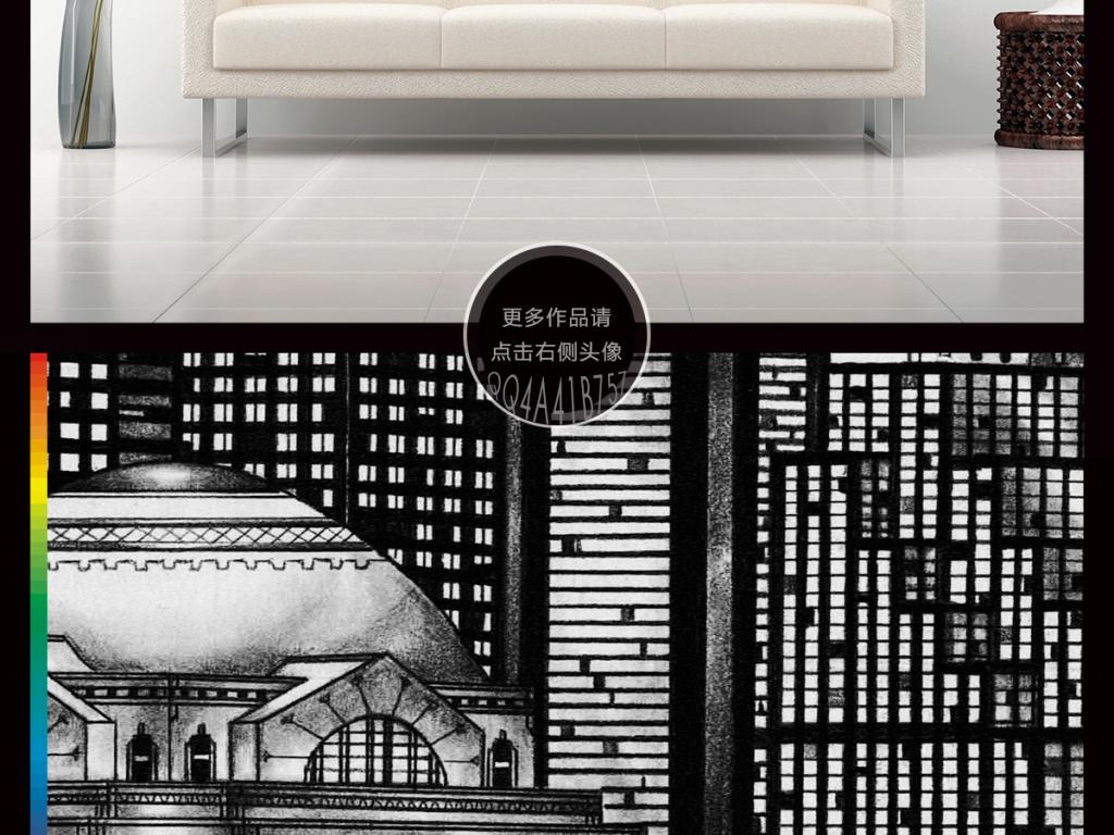 欧式酒吧餐厅咖啡店西餐厅韩国美食手绘建筑剪影素描
