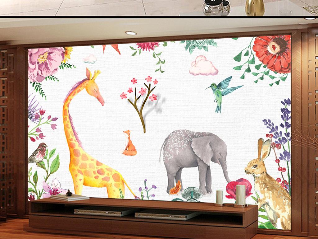 沙发背景墙装饰画简欧工装可爱时尚高清壁画墙纸壁纸