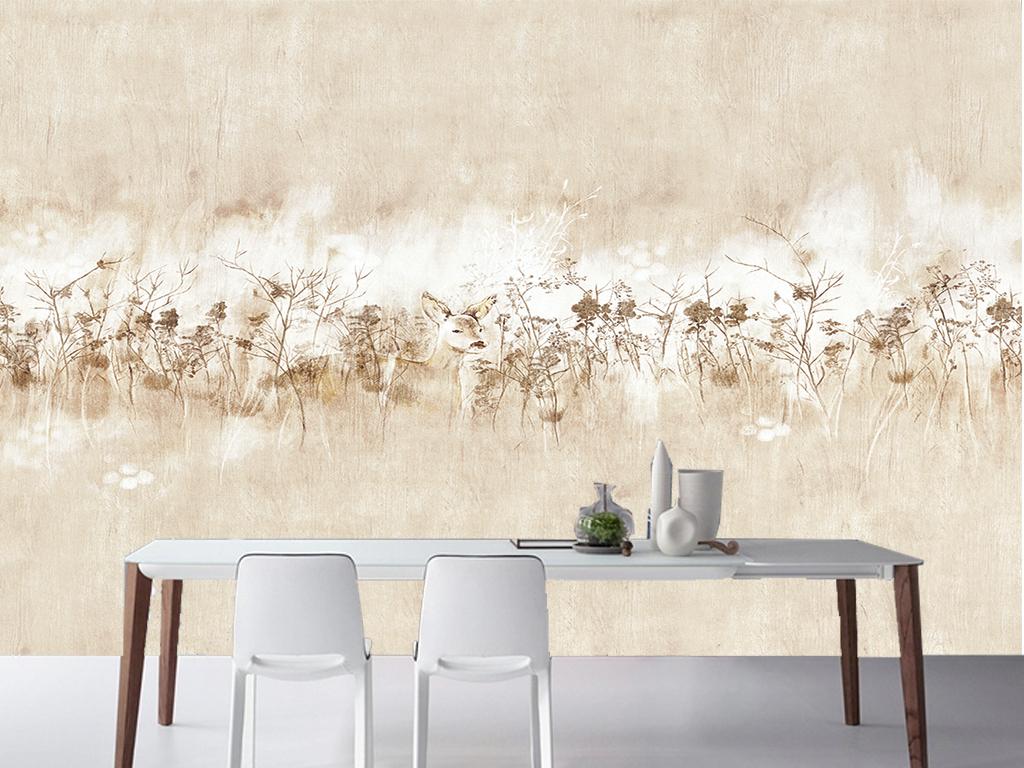 手绘北欧麋鹿丛林客厅电视背景墙