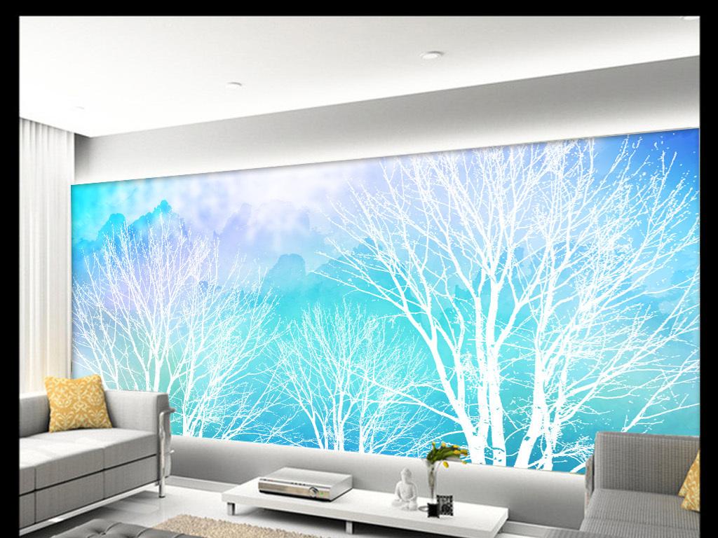 唯美抽象树风景手绘背景墙装饰画