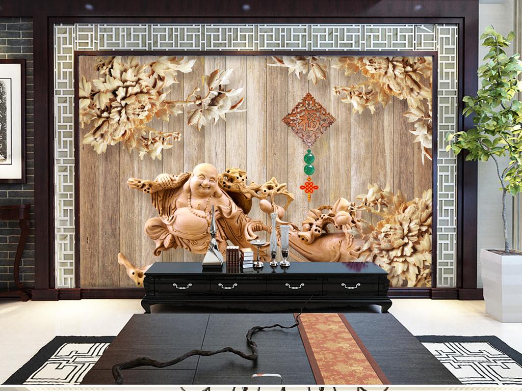 荷花牡丹花家和万事兴家和富贵木板墙中式背景墙海纳