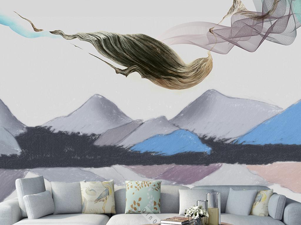 手绘现代抽象山水风景背景墙