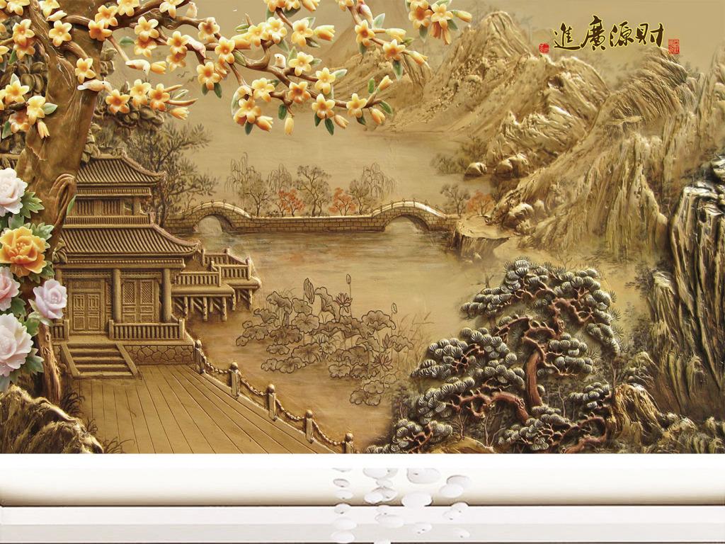 彩雕木雕浮雕小亭子亭子图片手绘中式中式山水