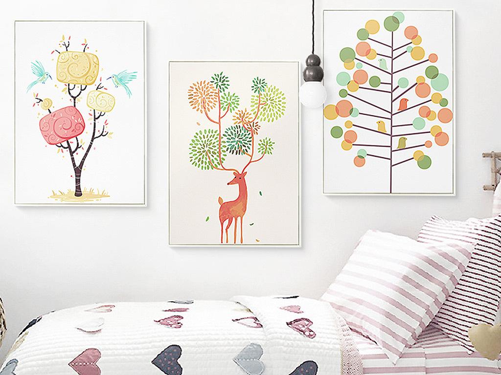 北欧风格麋鹿森林装饰画