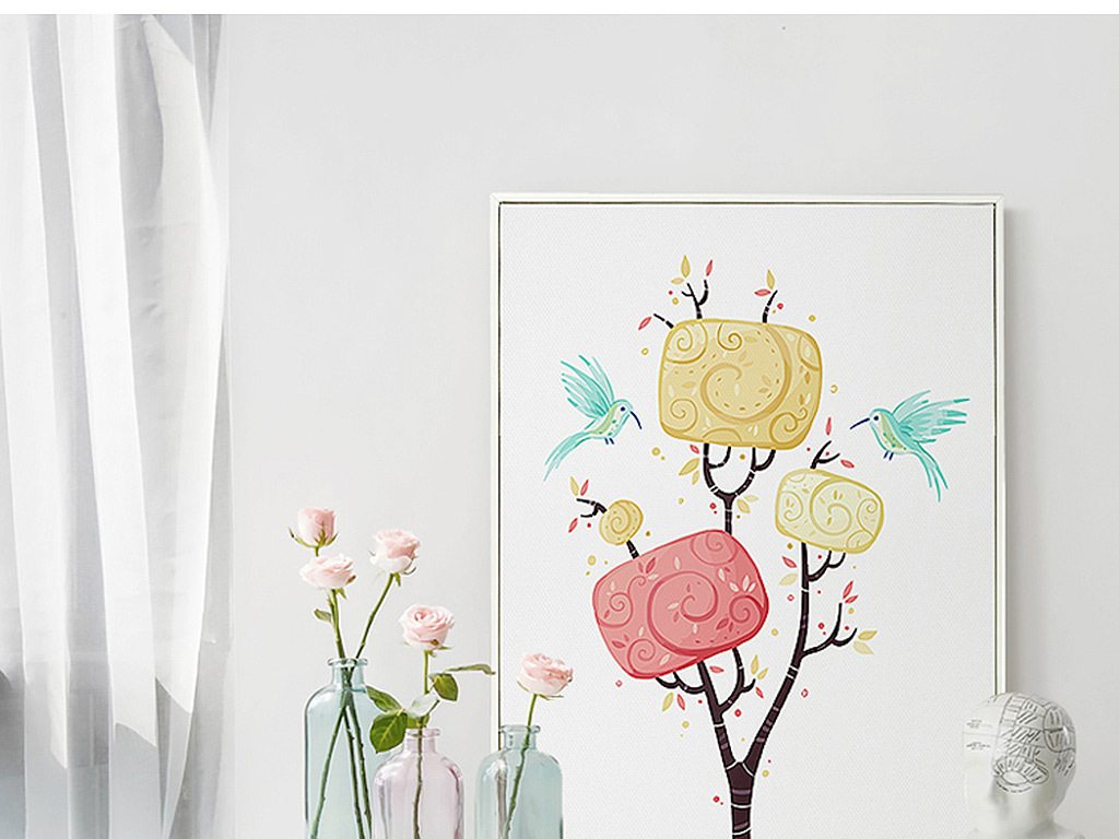 背景墙|装饰画 无框画 抽象图案无框画 > 北欧风格麋鹿森林装饰画  版图片