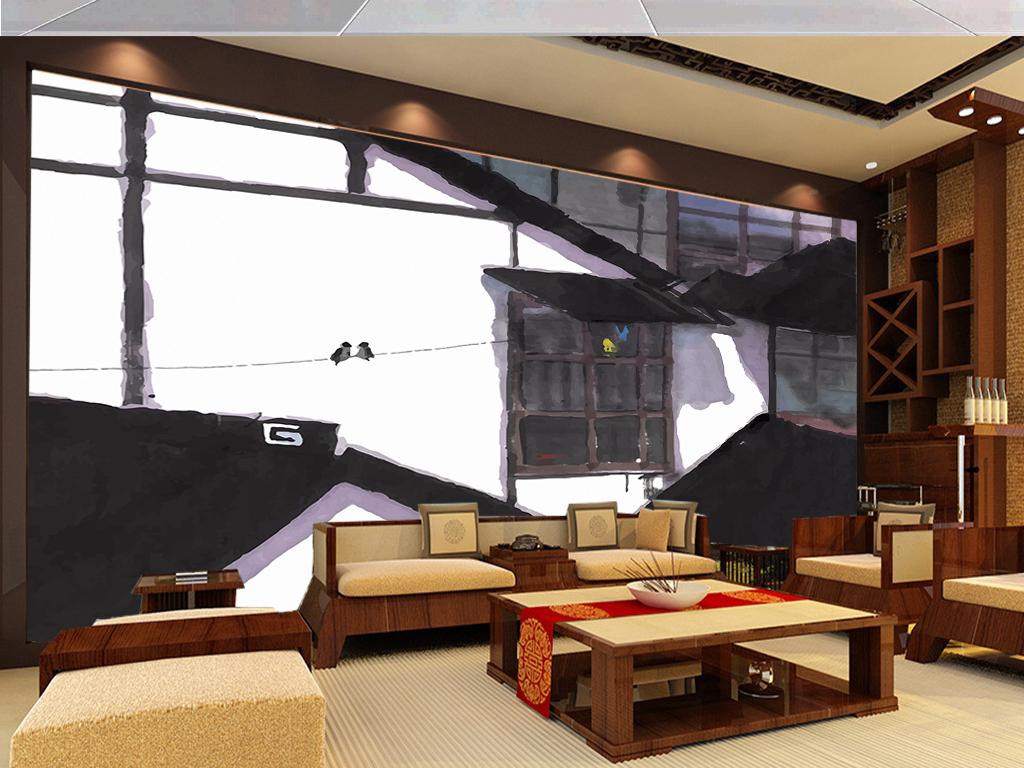 大气写意水墨房屋中式客厅电视背景墙图片