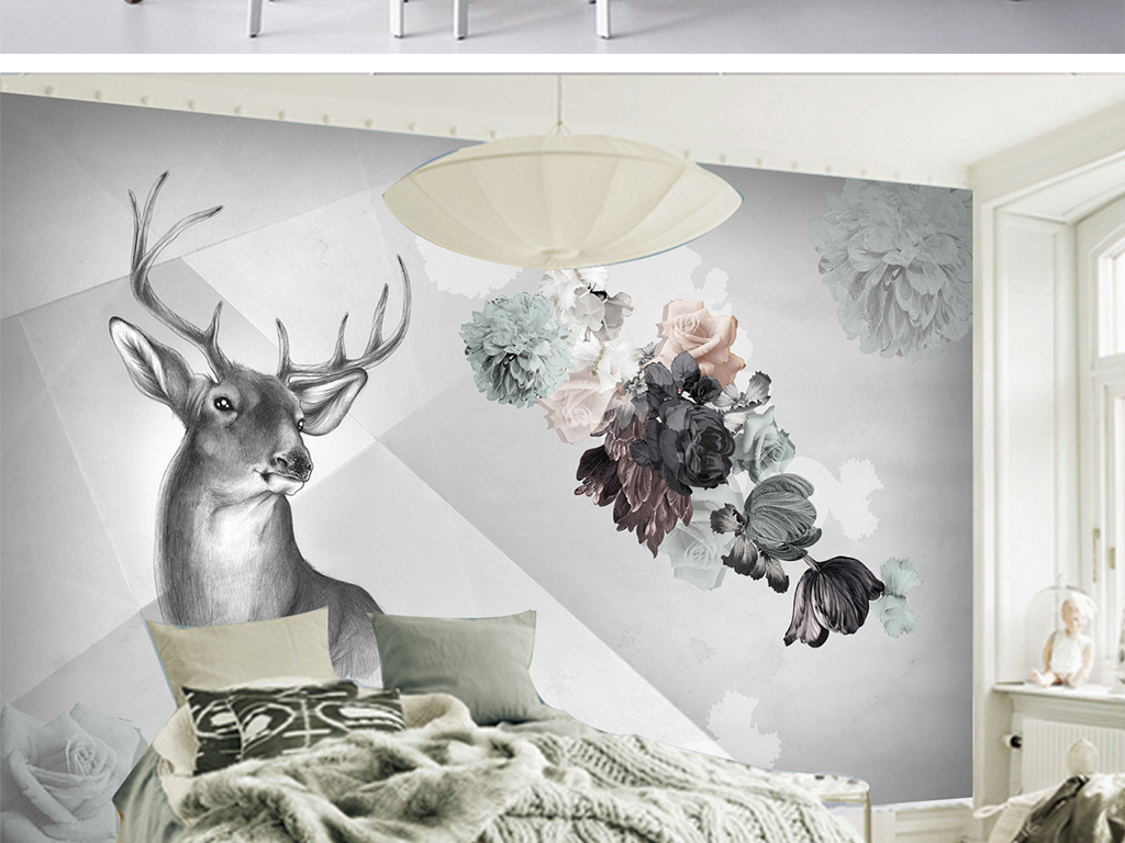 现代简约电视背景墙 > 北欧简约手绘麋鹿几何背景墙  版权图片 设计师