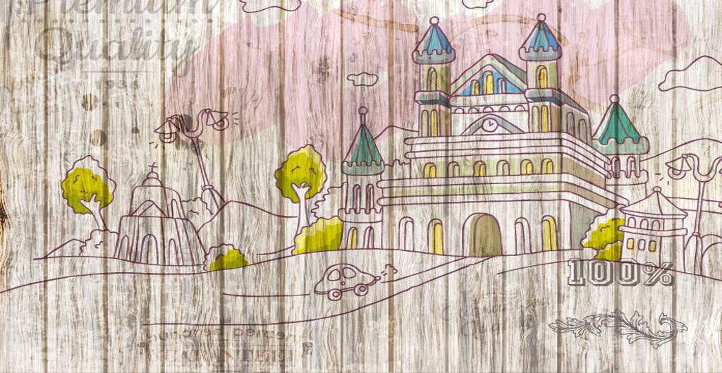 卡通木纹背景卡通城堡卡通儿童3d背景温馨浪漫温馨