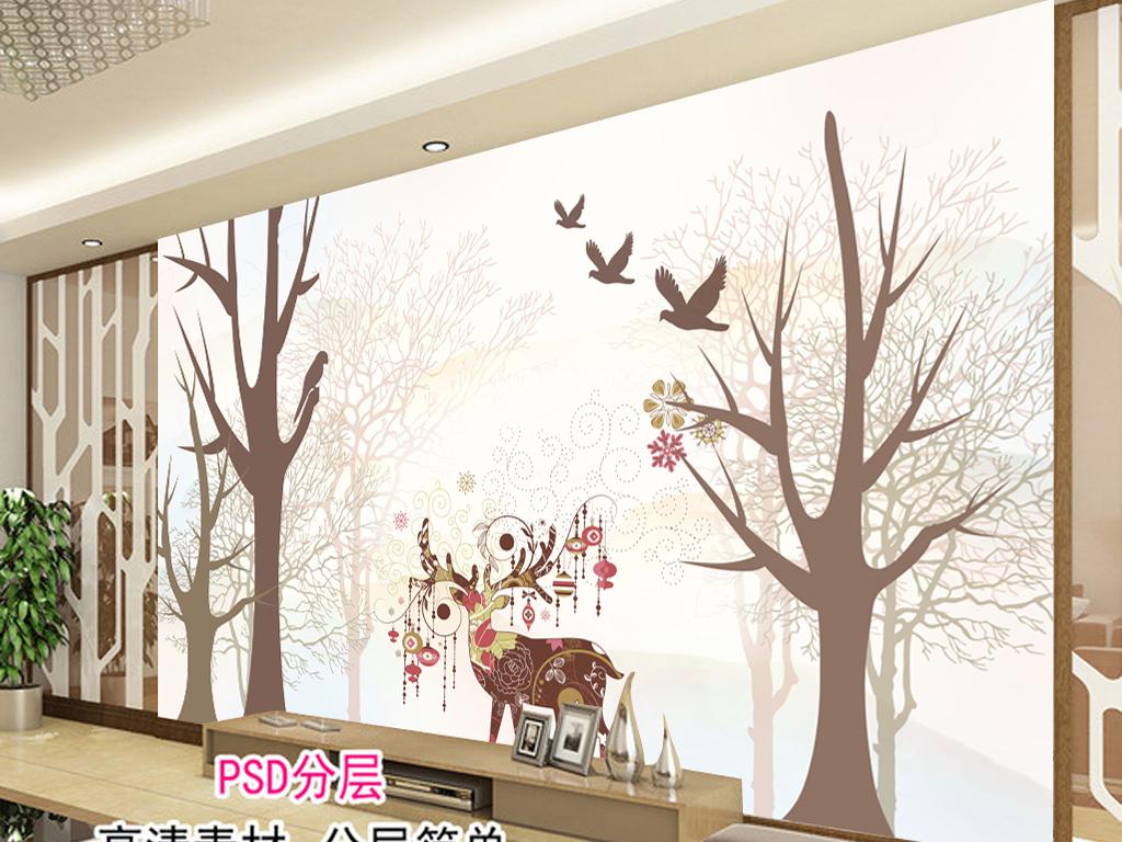 森林麋鹿高清手绘电视背景墙