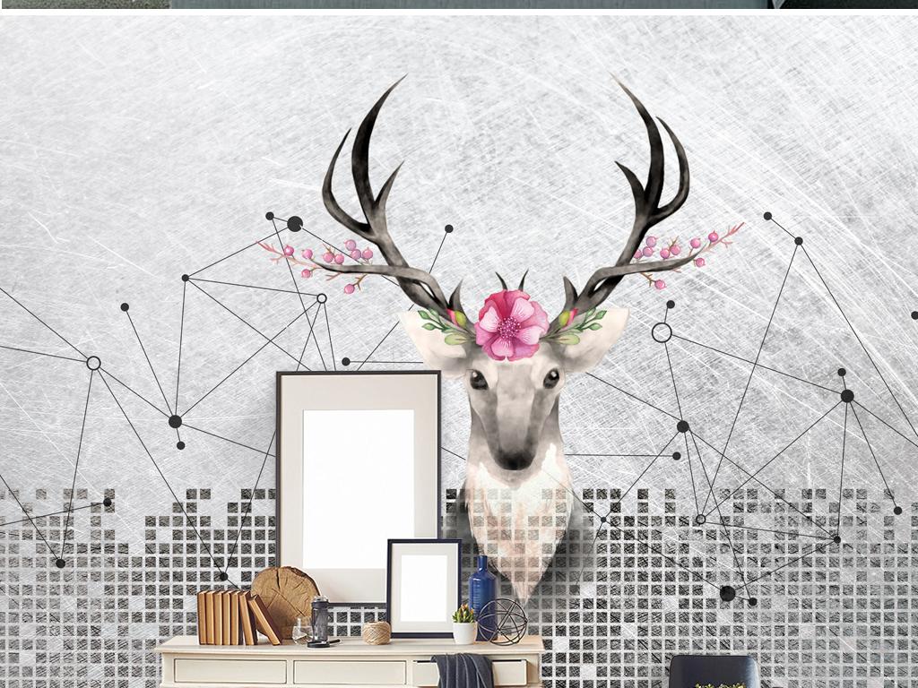 复古麋鹿黑白装饰画北欧手绘麋鹿