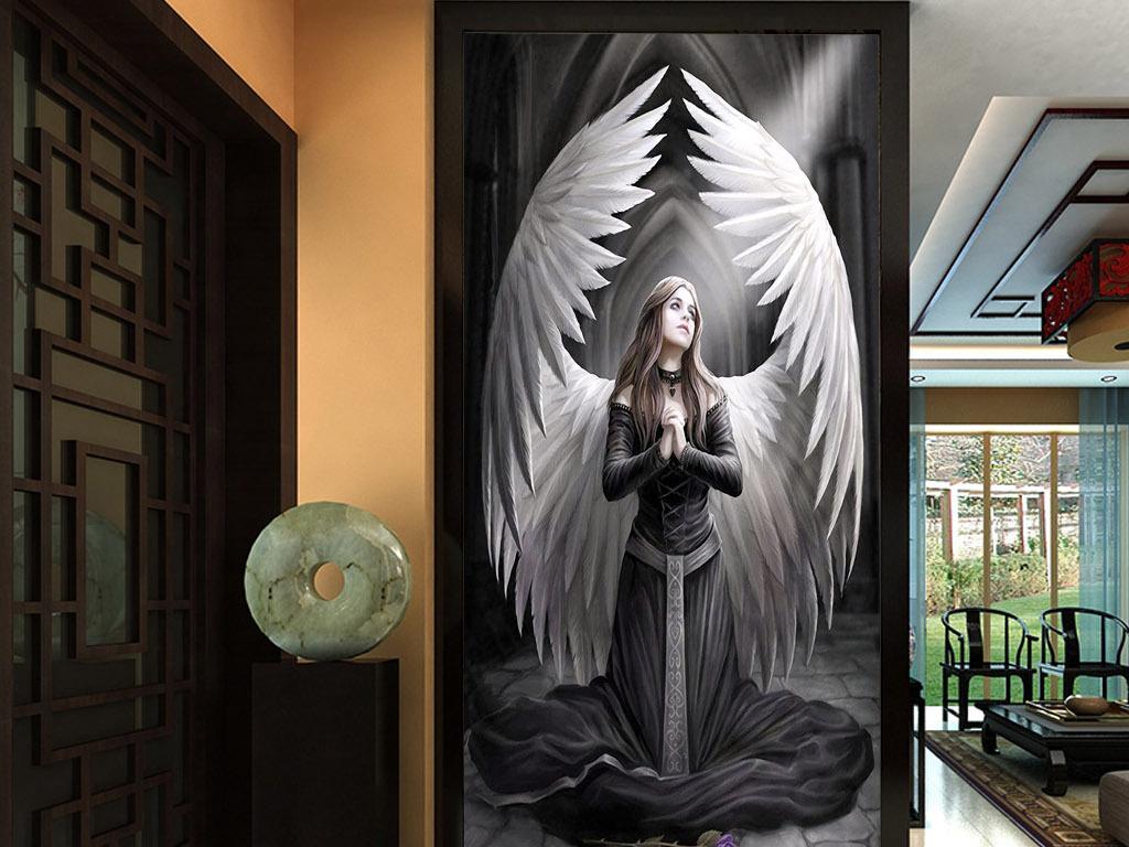 祈祷天使的翅膀欧式唯美现代北欧玄关装饰画