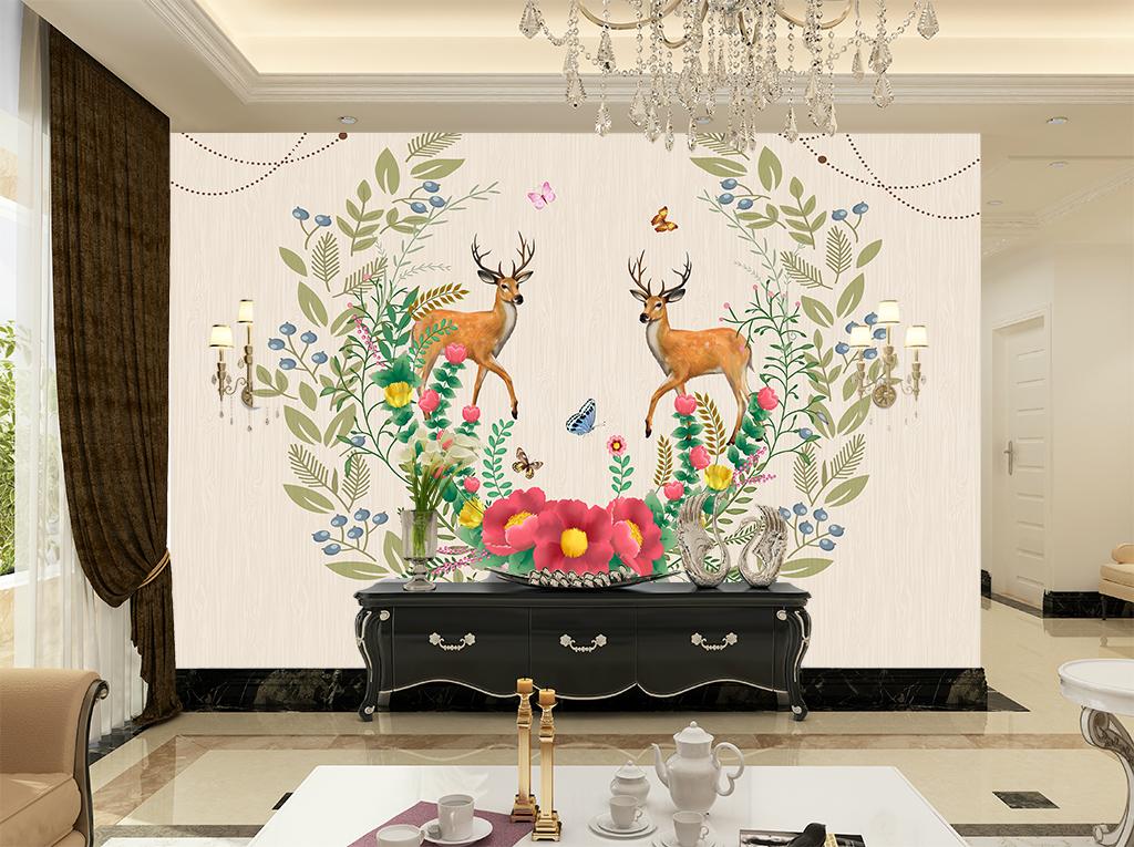 背景墙 电视背景墙 欧式电视背景墙 > 欧式简约花纹森林鹿背景  素材
