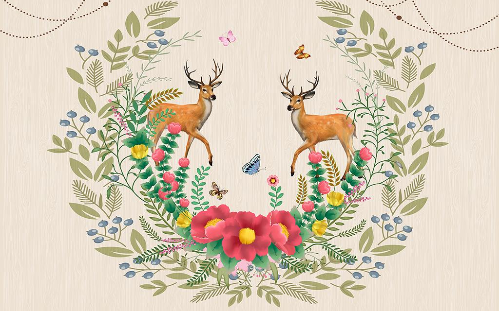 背景墙|装饰画 电视背景墙 欧式电视背景墙 > 欧式简约花纹森林鹿背景