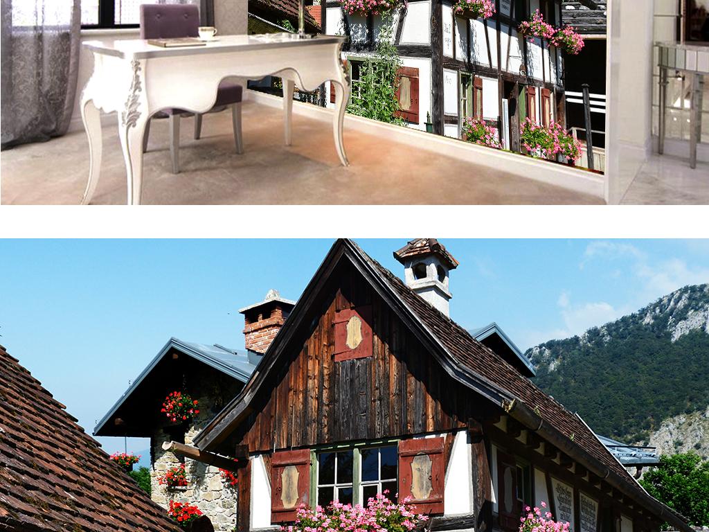 欧式别墅小木屋装饰背景墙