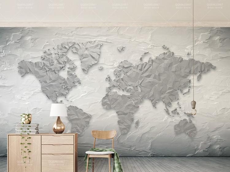 石头纹理体世界地图简约3d立电视背景墙