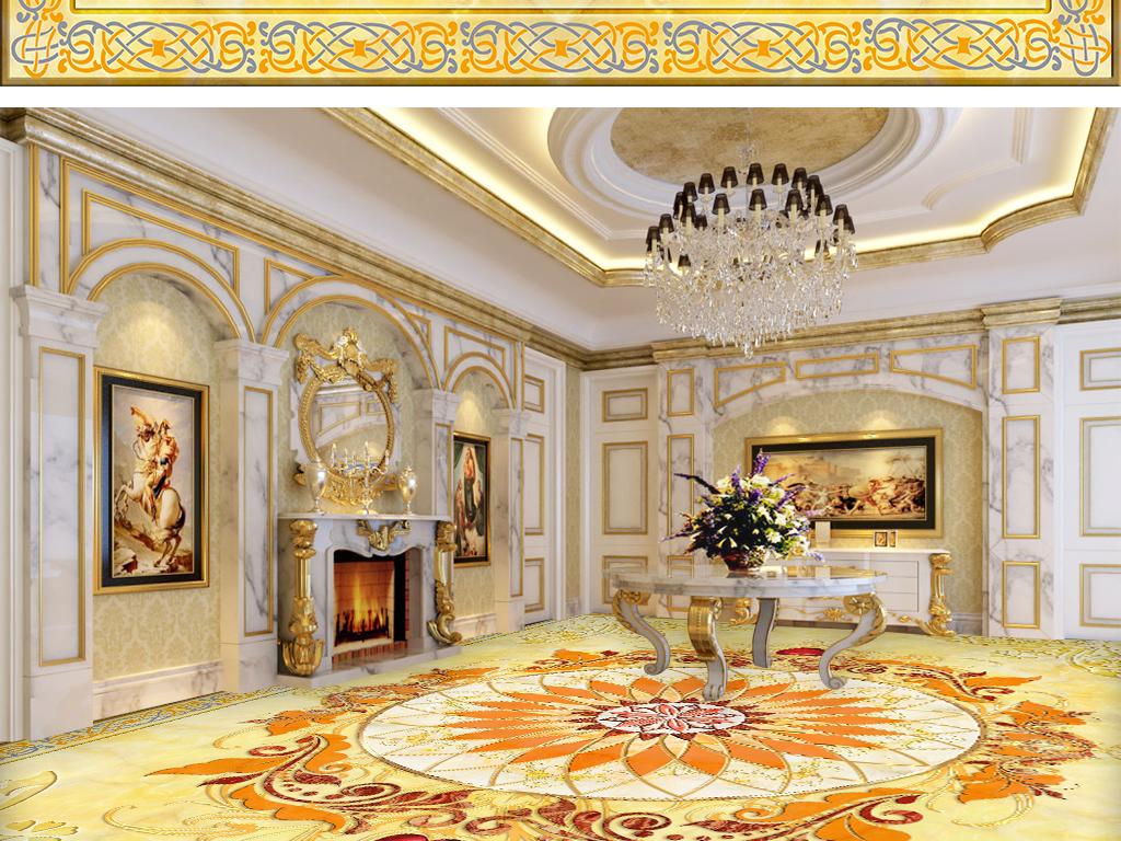 尊贵皇宫欧式花纹大理石拼花地板图片