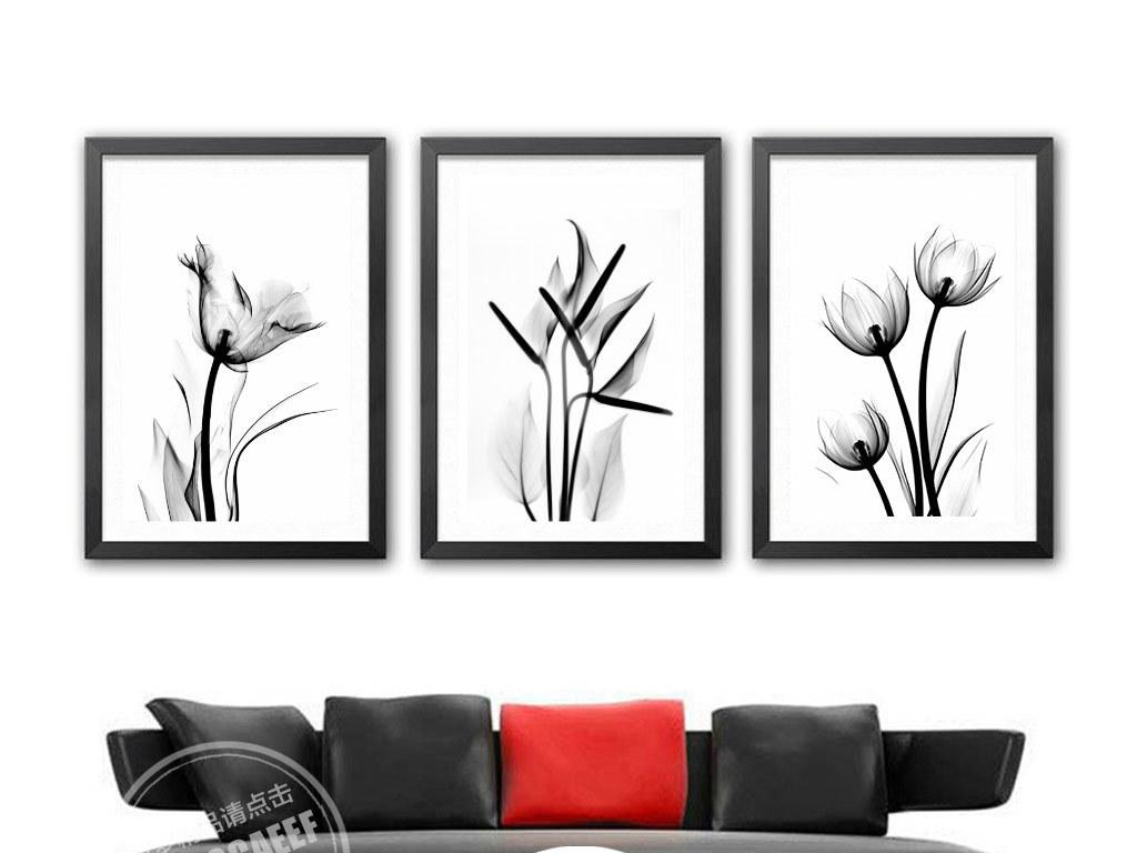 背景墙|装饰画 无框画 植物花卉无框画 > 黑白透明郁金香三联无框画