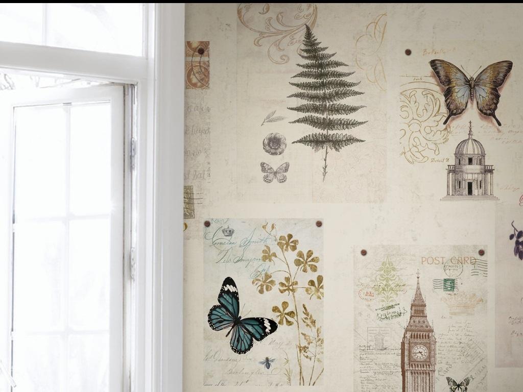 电视背景墙手绘复古美式