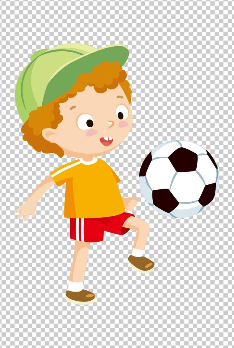 卡通运动少年踢足球
