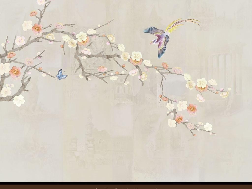 背景墙|装饰画 其他 背景墙 > 手绘梅花  版权图片 设计师 : wx