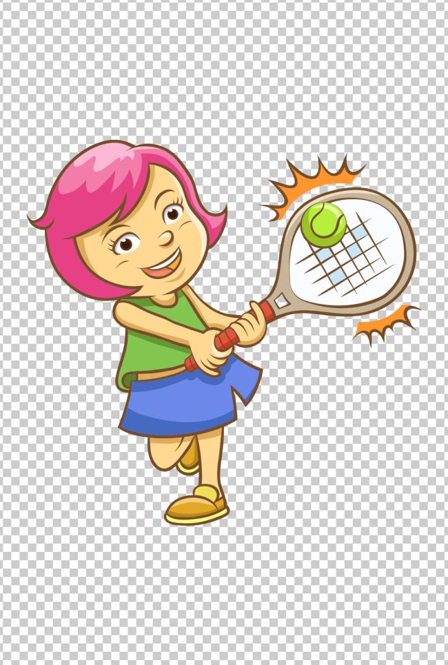 可爱卡通小孩打网球