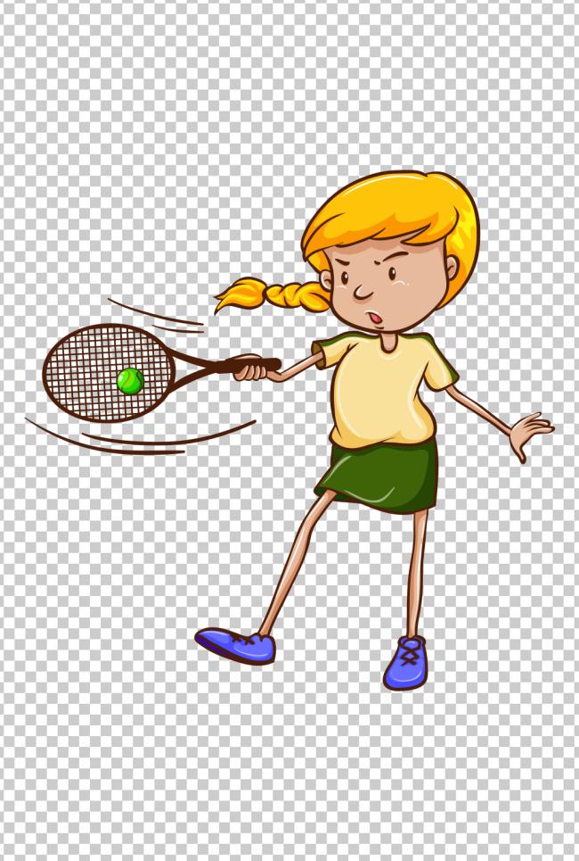 可爱卡通运动女孩打网球