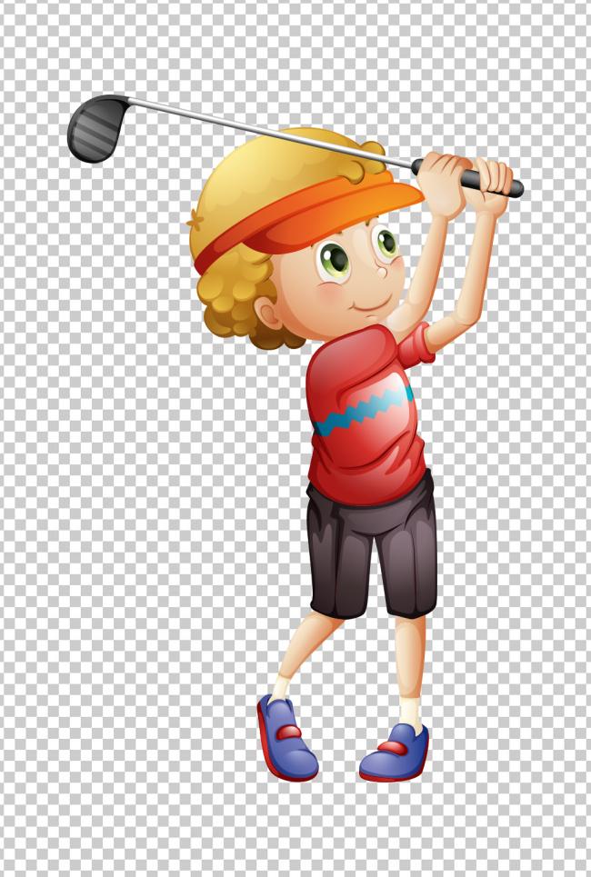 卡通小孩高尔夫球健身球类运动可爱宝宝可爱卡通可爱小女孩可爱小人