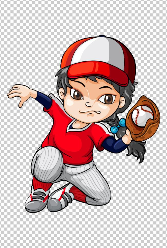 可爱卡通q版小孩棒球投手