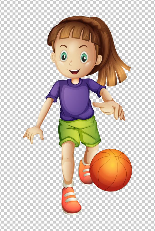 可爱卡通女孩开心打篮球