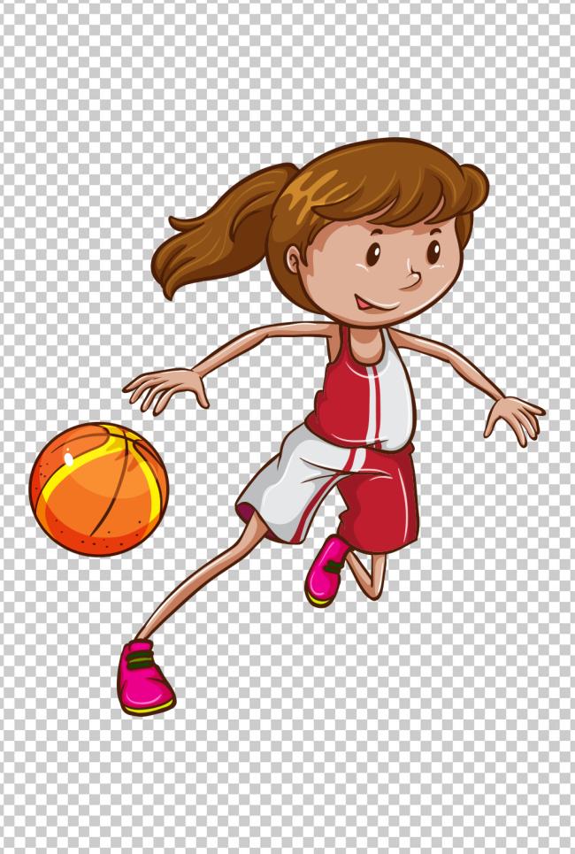 可爱卡通女孩打篮球