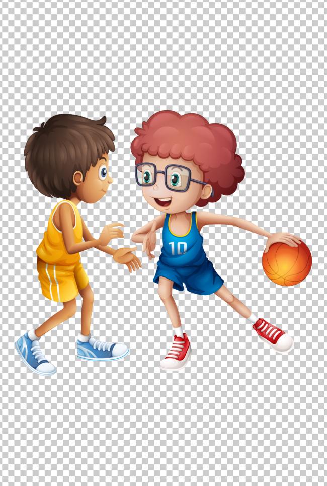 可爱卡通小孩抢篮球