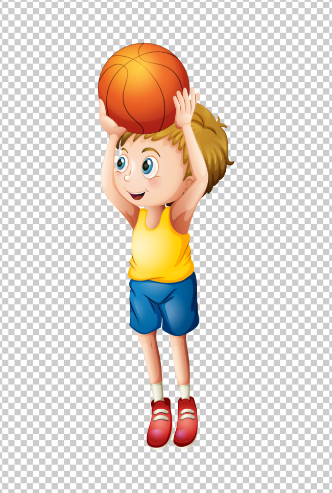 可爱卡通小孩投篮球