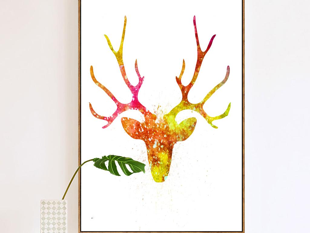 麋鹿抽象水彩手绘彩绘麋鹿驯鹿角玄关装饰画